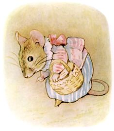"Mrs. tittlemouse went on her way to a distant storeroom, to fetch cherry-stones and thistle-down seed for dinner.All along the passage she sniffed, and looked at the floor. ""I smell a smell of honey; is it the cowslips outside, in the hedge? I am sure I can see the marks of little dirty feet."""