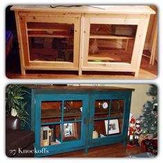 Ana White | Build a Using Vaseline to Distress Aged Aqua Cabinet | Free and Easy DIY Project and Furniture Plans