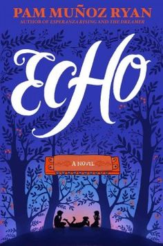 Echo by Pam Munoz Ryan. Lost in the Black Forest, Otto meets three mysterious sisters and finds himself entwined in a prophecy, a promise, and a harmonica--and decades later three children, Friedrich in Germany, Mike in Pennsylvania, and Ivy in California find themselves caught up in the same thread of destiny in the darkest days of the twentieth century, struggling to keep their families intact, and tied together by the music of the same harmonica. Find this under jRYA