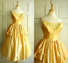 1950s Prom Dress / Vintage Gold Alfred Angelo by DalenaVintage, $250.00