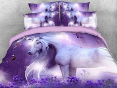 Unicorn and Fairies Printed Cotton Luxury Purple Bedding Sets/Duvet Covers Purple Bedding Sets, Cheap Bedding Sets, Luxury Bedding Sets, Bedding Master Bedroom, Bedroom Decor, Bedroom Ideas, Wall Decor, Galaxy Bedding, Galaxy Bedroom