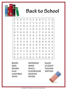 free printable word search back to school - Back to School Educational Activities Get those little brains in gear with a totally fun & free back to school word search. Here are 7 back to school word searches to try! Back To School Worksheets, English Worksheets For Kids, English Activities For Kids, School Games For Kids, Back To School Activities, Back To School Party, Back To School Crafts, Easy Word Search, Word Search Games