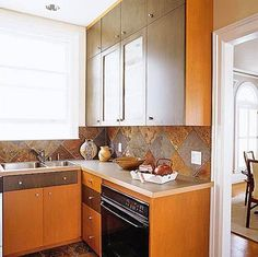 Small Kitchen 1: Textures and Finishes - also interesting back splash