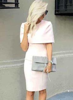 Nylon Pinsel Elasthan Rayon Solide Halbe Ärmel Knielang Lässige Kleidung Kleider