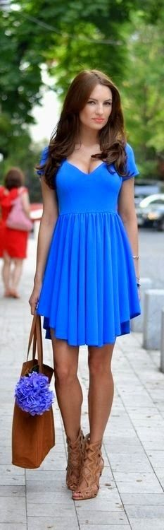 Trends 2015 Fashion New Arrivals - Lovely Blue Dress and Camel Shoes Look.