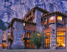 Ahwahnee Lodge, Yosemite.  Was there on a snowy night and the view of the snow out the giant windows was so lovely.  Such a romantic place. Http://patricialee.me
