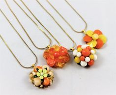 Vintage earring necklaces orange yellow white set by madebysheri
