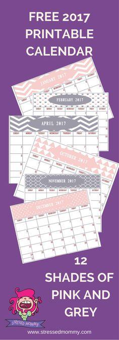 Ready for a cute 2017 FREE printable calendar?  Click here for our 2017 Free pink and grey printable calendar.