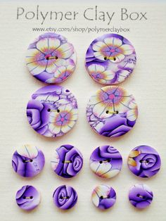 Milifiori  polymer clay buttons by polymerclaybox on Etsy, $9.50