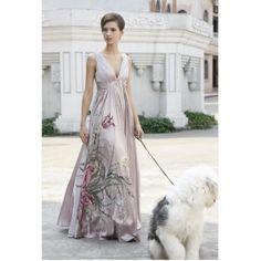 A-line/ Princess V-neck Empire Floor-length Beading Ruffle Evening/Prom Dress