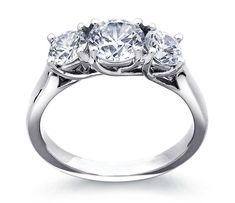 Three-Stone Trellis Diamond Engagement Ring in Platinum | Blue Nile