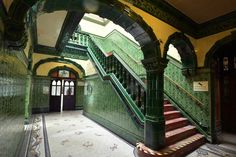 Victorian tiles at the Victoria Baths, Manchester.