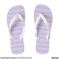 Pastel Easter Stripes Flip Flops