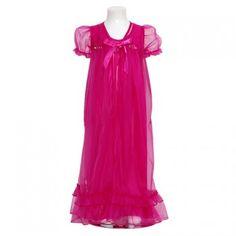 Laura Dare Fuchsia Sheer Flower 2pc Nightgown Robe Set Girls 2T-14