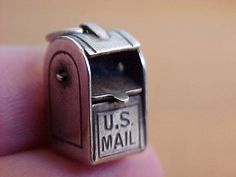 VINTAGE STERLING SILVER U.S. MAIL MAILBOX CHARM, MAIL LID OPENS AND SHUTS - 185 usd BO