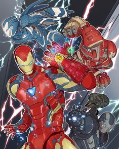 Drawings of Iron Man, War Machine, Rescue, Hulk Buster from Avengers Endgame with the Infinity Gauntlet. Marvel Cartoons, Marvel Dc Comics, Marvel Heroes, Marvel Avengers Assemble, The Avengers, Iron Man Wallpaper, Marvel Wallpaper, Marvel Comic Universe, Marvel Cinematic Universe