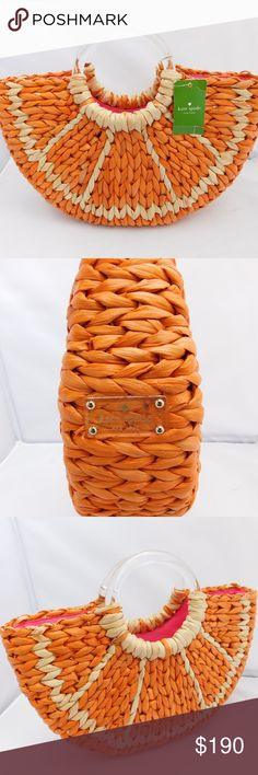 """KATE SPADE ORANGE SLICE WITH A TWIST BAG BRAND- KATE SPADE COLOR- ORANGE MATERIAL- WICKER STYLE- SATCHEL SIZE- 16"""" length, 9"""" height, 5"""" width FEATURES- 2 SLIP POCKETS AND 1 ZIPPER POCKET INSIDE. ORANGE SLICE """"WITH A TWIST"""" WOVEN HUSK TOTE.  CONDITION- NEW  Bin- PB 11  PLEASE ASK QUESTIONS IF YOU HAVE ANY, I AM HAPPY TO ANSWER THEM. kate spade Bags"""