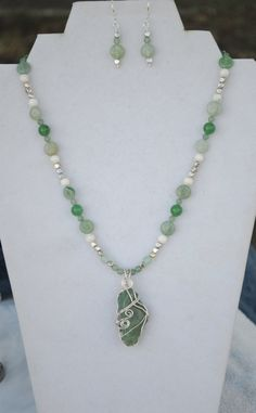 Aventurine necklace; green bead necklace; wire wrap stone; green stone necklace; green bead earrings; light green necklace earring set by Rocks2Gems2Wire on Etsy