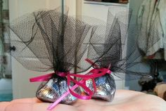 Our homemade bridal shower favors! Super cute, easy, and cheap! Hershey kisses with heart envelope seals on the bottoms, wrapped in tulle and tied with a bow! Homemade Wedding Favors, Wedding Shower Favors, Beach Wedding Favors, Unique Wedding Favors, Bridal Shower Invitations, Unique Weddings, Wedding Ideas, Wedding Fun, Wedding Decor