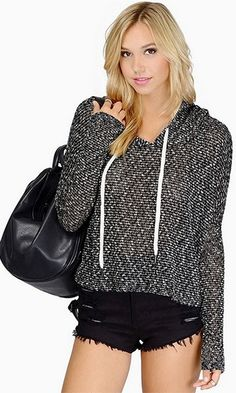 Autumn Morning Black White Long Sleeve Hood Loose Pullover Sweater