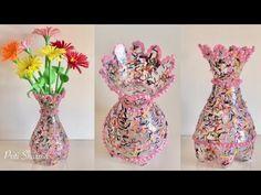 Best Out Of Waste Plastic Bottle Flower Vase / DIY / Plastic Bottle Craft Idea, - Bottle Crafts Plastic Vase, Reuse Plastic Bottles, Plastic Bottle Flowers, Plastic Bottle Crafts, Flower Vase Design, Flower Vases, Diy Flowers, Decoration Table, Vases Decor