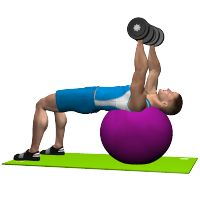 DUMBBELL PRESS ON STABILITY BALL