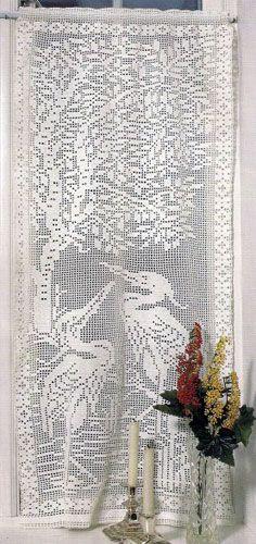 """Схема вязания крючком филейной занавески """"Цапли у дерева"""""""
