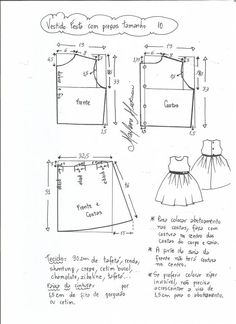 Pattern Dress for girls between the ages of 1 and 14 years (Sewing and cutting) Kids Dress Patterns, Baby Clothes Patterns, Baby Patterns, Clothing Patterns, Sewing Patterns, Pattern Dress, Sewing For Kids, Baby Sewing, Party Fashion