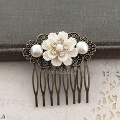 Wedding Hair Comb Bridal Hair Comb Pearl Hair Slide by Jewelsalem
