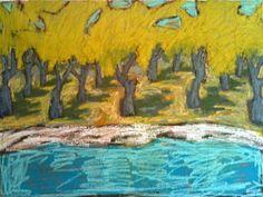 Olive grove to the sea - Oil on linen Gordon Hopkins