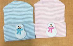 Winter Snowman Newborn Hospital Hat 1st Keepsake by PoshBabyLoves