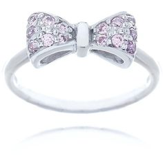 Aurora Home Blue Box Jewels Rhodium-plated Sterling Silver Pink Cubic... ($60) ❤ liked on Polyvore featuring jewelry, rings, accessories, white, cz solitaire ring, blue ring, bow ring, sterling silver rings and pave band ring