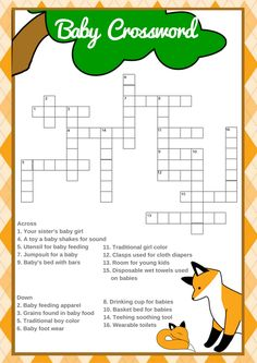 fox baby shower theme | fox baby shower theme boys | fox baby shower ideas | printable baby shower games  This fun crossword puzzle is so much fun. Your baby shower guests are going to love it.