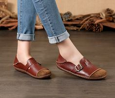 Large Size Handmade Women Shoes,Oxford Shoes, Flat Shoes, Retro Leather Shoes, Slip-ons, Ballet Shoes, Very Soft Wine Red Quality Cow Leather Soft Material and Sole Comfortable Style More Shoes:
