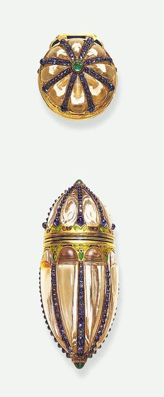 Boucheron - Rock Crystal Scent Bottle set with Sapphires & Emeralds in Gold - 1900