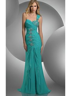 A-line One-shoulder Chiffon Long Prom Dress /Evening /Formal dress Ace Claudine 59235