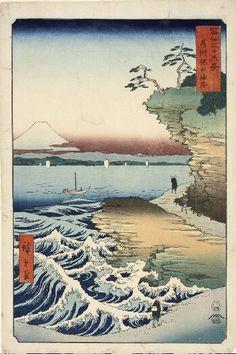 Hota Beach, Awa Province, 1858 Ando Utagawa Hiroshige Japanese, 1797-1858 Color woodblock oban tate-e, sheet: 14-9/16 x 9-3/4 in. (36.4 x 24.8 cm) Norton Simon Museum