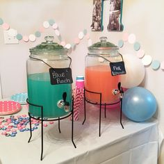 Want the drink recipes? Easy: Pink Lemonade & for the blue: 1/2 blue punch/ 1/2 lemonade --                                                       and they're both DELICIOUS!