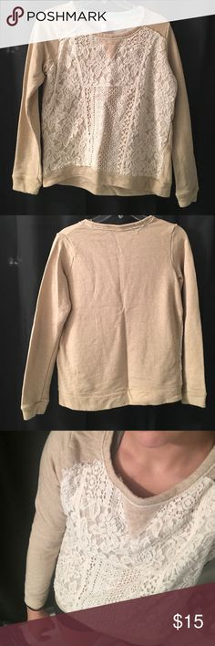 Cream/ Tan colored sweater - cream/tan colored, unique lacey pattern on the front Xhilaration Sweaters Crew & Scoop Necks