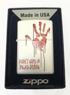 "Amazon.com: Zippo Custom Lighter - Bloody Dead Zombie Hand ""Dont Open Dead Inside"" White Matte Rare!: Everything Else"