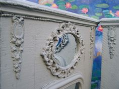 I have created a pair of Antique Trumeau mirrors using two lovely antique French  louis philippe mirrors, painted in a lovely chalk paint in French blue grey, hope you like them merci.  from ciel de lit