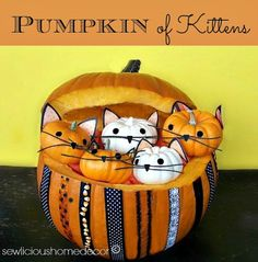Adorable and easy tutorial!  #Pumpkin Full Of #Kittens #Tutorial #halloween  ::  #sewlicioushomedecor.com