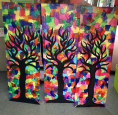 Risultati immagini per fall art projects for elementary studentsTissue paper art--Modify and use with Klimt tree of life?use tissue paper and mod podge first, then paint black over top.fun fall art project to try at homeblack glue line on foil art Fall Art Projects, Classroom Art Projects, School Art Projects, Art Classroom, Tissue Paper Art, Diy Paper, Paper Crafts, Pattern Floral, 4th Grade Art