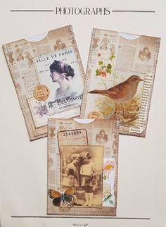 "Ephemera - Sewn Vintage Tag Pockets - for Journals,  scrapbooking, junk journals - 4 1/2 "" × 3 1/4 "" - Set of three Art Journal Pages, Art Pages, Altered Books Pages, Vintage Tags, Retro, Tag Art, Scrapbook Pages, Paper Cards, Envelope Punch Board"
