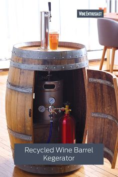 Recycled Wine Barrel Kegerators Bring Home A Taste Of Medieval Might, Magic & Choice Ales Beer should never have to be associated with anything that lets us down. Nevertheless, this ingenious Recycled Wine Barrel Kegerator addresses one of . Wine Barrel Bar, Wine Barrel Table Diy, Wine Barrel Crafts, Wine Barrel Furniture, Barrel Projects, Beer Taps, How To Make Beer, Wine Cellar, Home Brewing