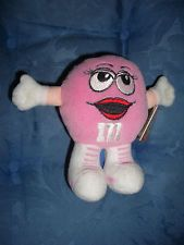 M&Ms Candy Perky Pink Plush Toy Figure Mint with tags 1998 Swarmees