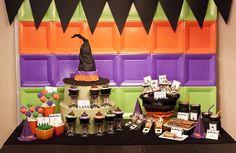 Halloween dessert table... love the backdrop! #halloween