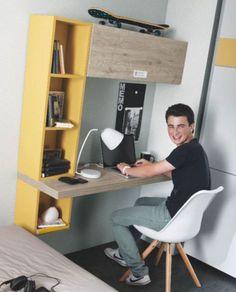 Decorar una zona de estudio. Escritorio juvenil Ringo con zona de almacenaje para libros. Acabado Base Etrusko, Atique y Dakar. Medida Modular. Más