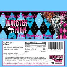 Monster High inspired Chocolate Bar Wrapper by madisonmackenzieink, $7.00