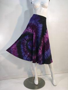 182854dcb4c XL Purple tie dye mid-length 1 2 circle skirt in bamboo blend fabric